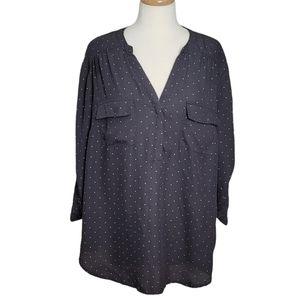 TORRID Blouse Polka Dot V Neck 3/4 Sleeves
